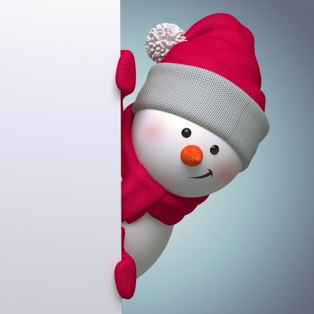 snowman blank bannertemplate, 3d cartoon clip art Stock Photo