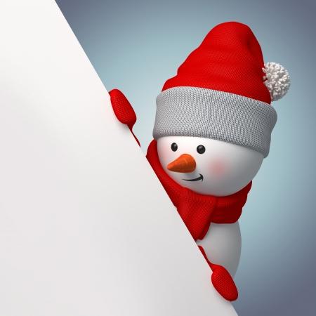 snowman 3d: snowman blank bannertemplate, 3d cartoon clip art Stock Photo