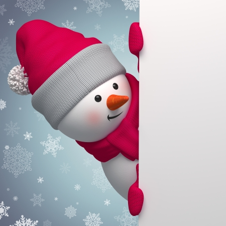 christmas costume: Christmas greeting banner, 3d snowman holding blank page Stock Photo