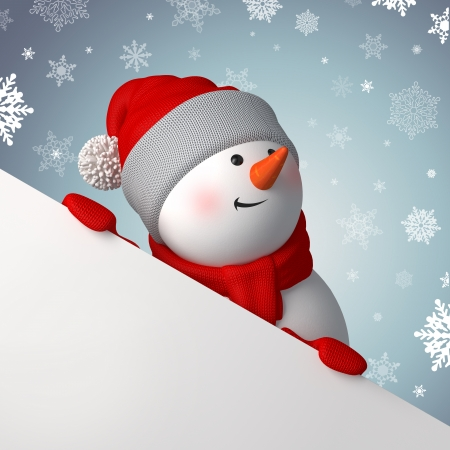 knit cap: Christmas greeting banner, 3d snowman holding blank page Stock Photo