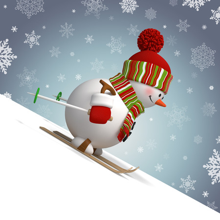 skiing snowman, winter sports, 3d funny cartoon character Stock Photo