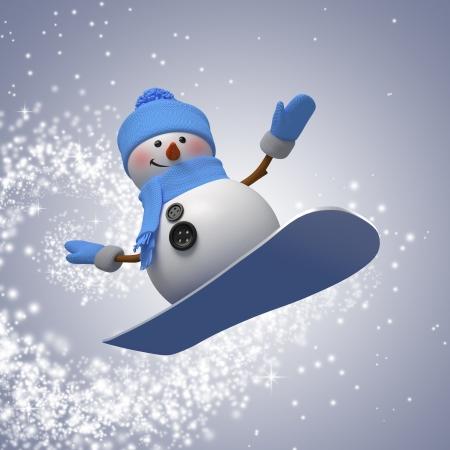スノーボード、冬の野外活動、スポーツの 3 d の雪だるま