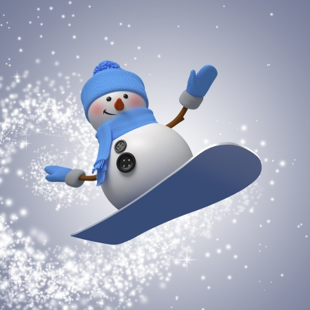 3d snowman on snowboard, winter outdoor activity, sport Stock Photo