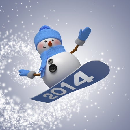 3d snowman on snowboard with new year number, winter outdoor activity photo