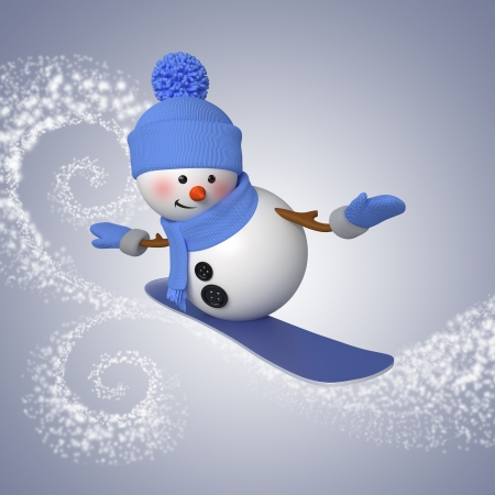3d snowman on snowboard, winter outdoor activity, sport 版權商用圖片