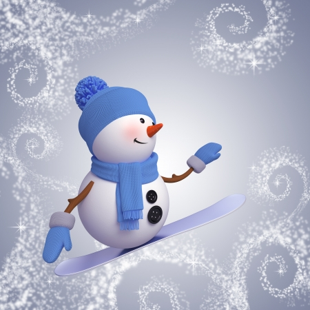 3d snowman on snowboard, winter outdoor activity, sport photo