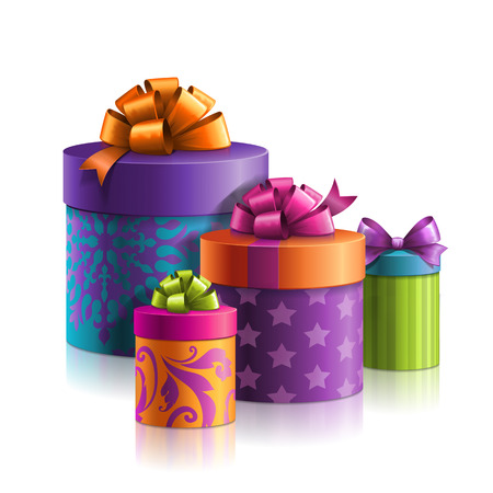 illustration of colorful gift boxes, holiday present illustration