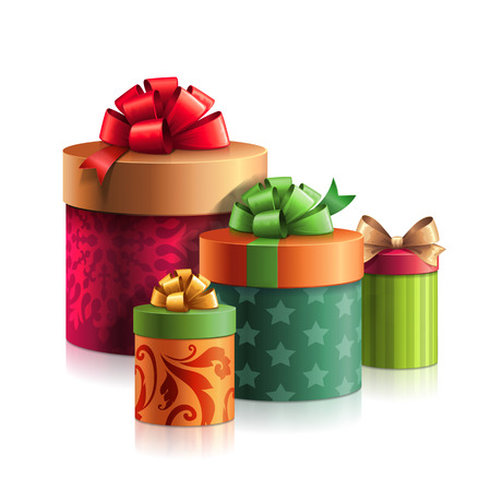 few: stack of gifts boxes, Christmas presents pile isolated on white Stock Photo
