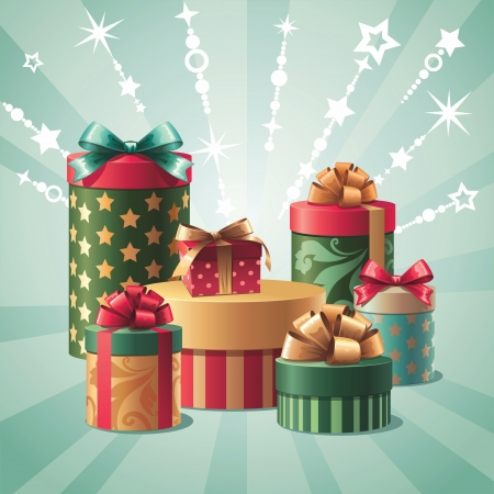 Stack of assorted gift boxes, illustration isolated illustration