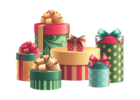 x mas party: Christmas gifts boxes stack, birthday presents, celebration