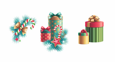 Christmas decoration design elements set isolated photo
