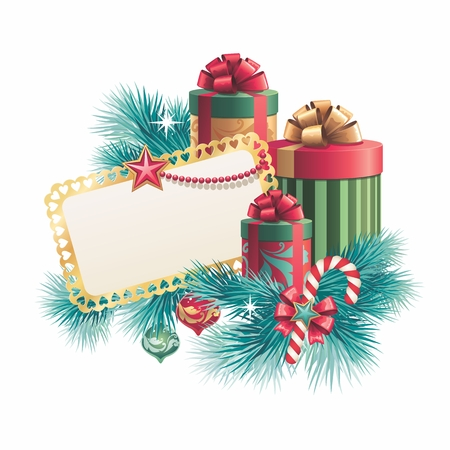 Christmas blank banner template with gift boxes, isolated on white  photo