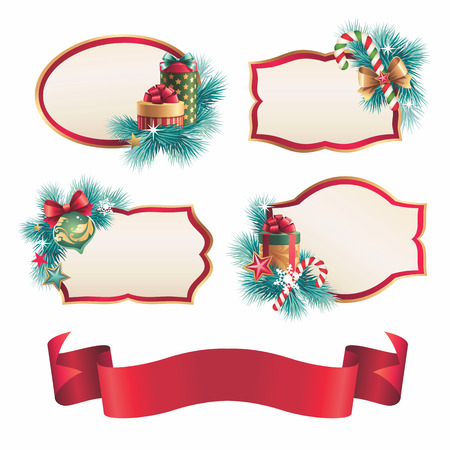 vintage Christmas banners, stickers set,  labels isolated photo