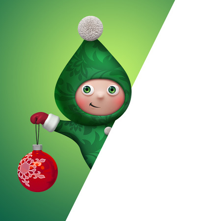 christmas elf cartoon character banner template, clip art Stock Photo