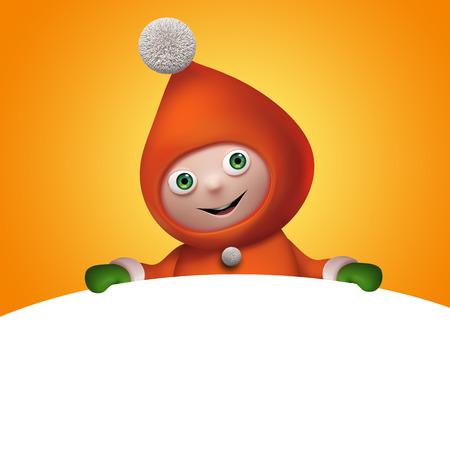christmas elf cartoon character banner template, clip art photo