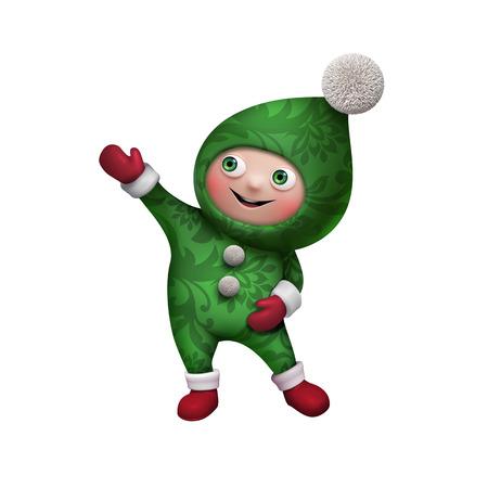 Aislado arte duende de la navidad clip de personaje de dibujos animados Foto de archivo - 23981854
