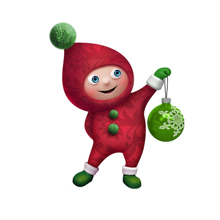 christmas elf cartoon character with glass ball, clip art isolated