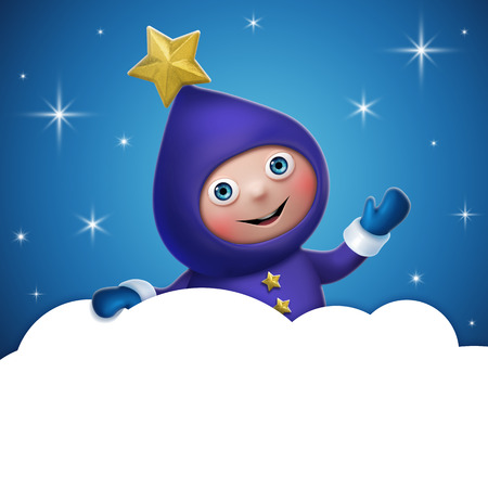 cloud banner template, star elf cartoon character photo