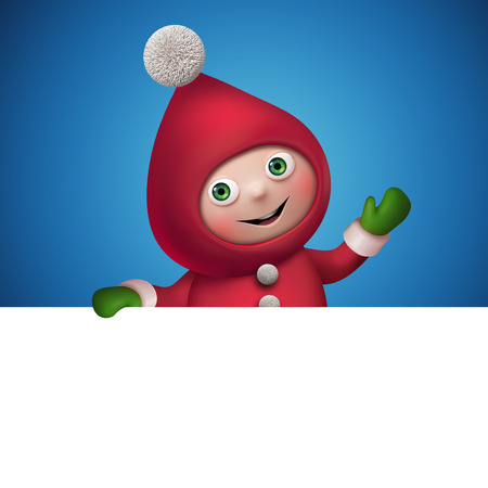 christmas elf cartoon character banner template, clip art photo
