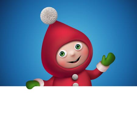 kids weaving: christmas elf cartoon character banner template, clip art Stock Photo
