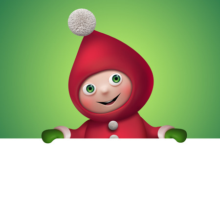 christmas elf cartoon character holding banner, clip art