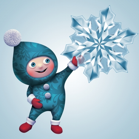 cute funny christmas elf cartoon holding snowflake clip art
