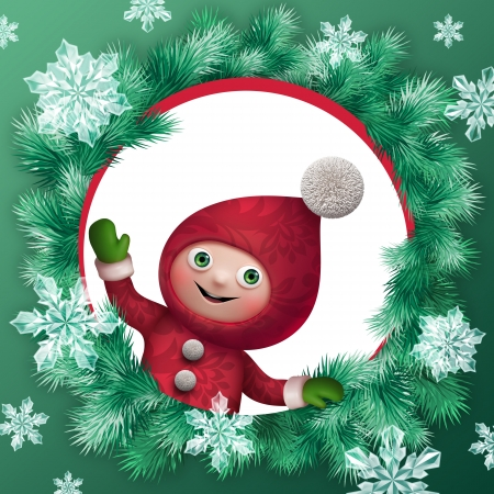 kids weaving: christmas elf cartoon character greeting card clip art