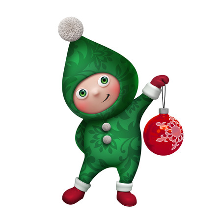 cute funny christmas elf cartoon holding glass ball clip art