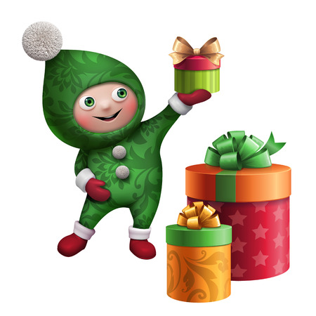 cute funny christmas elf cartoon holding gift clip art