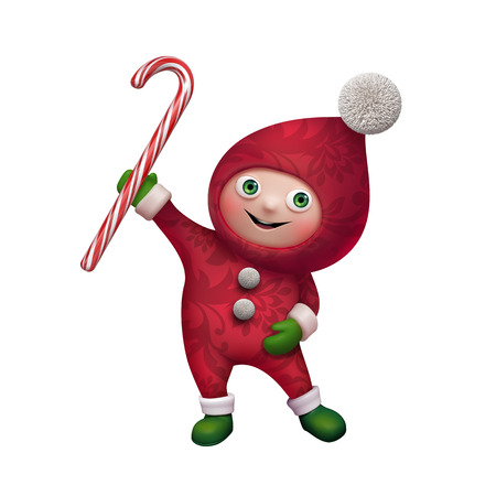 cane: cute funny christmas elf cartoon holding candy cane clip art Stock Photo