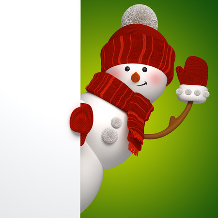 snowman 3d: 3d snowman banner, green background, Christmas greeting card template
