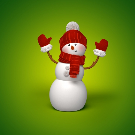 3d snowman on green background, Christmas greeting card template