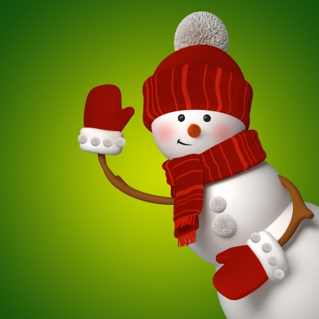 3d snowman on green background, Christmas greeting card template photo