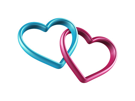 3d two hearts connected together, linked rings Banco de Imagens