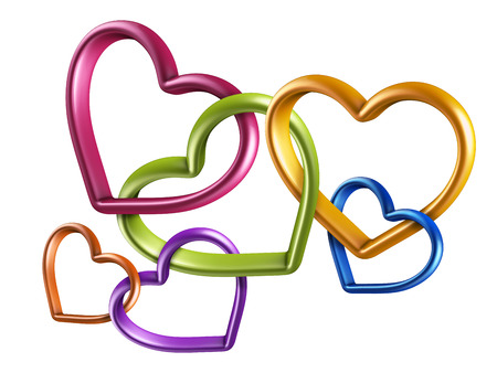 linked: 3d colorful hearts connected together, linked rings