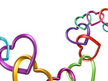 mixed family: 3d colorful hearts connected together into chain, linked rings Stock Photo