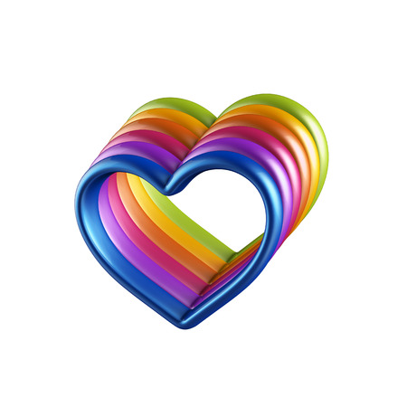3d colorful hearts connected together photo