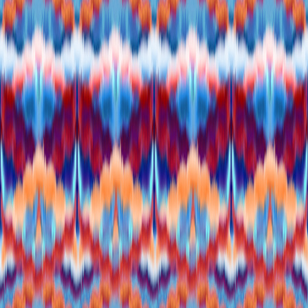 red blue abstract ethnic ikat seamless pattern background, vintage fashion textile ornament photo