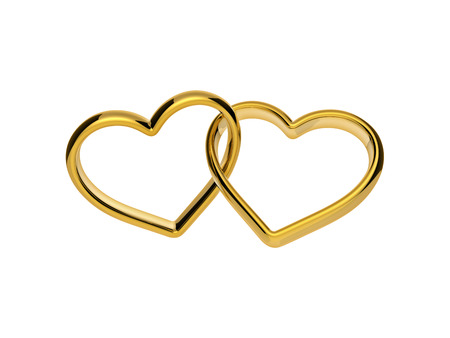 linked: 3d golden hearts connected together, linked rings, marriage symbol