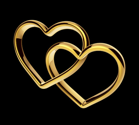 3d linked golden hearts connected together, love and marriage symbol Stock Photo - 26364708