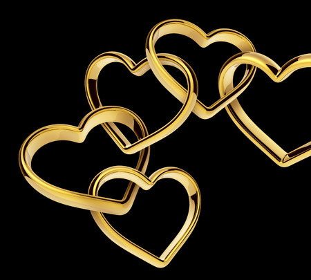 3d golden hearts connected together, linked chain, love symbol Stock Photo - 26364711