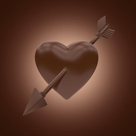 pierced: 3d chocolate heart pierced with arrow, Valentines day clip art, sweet food