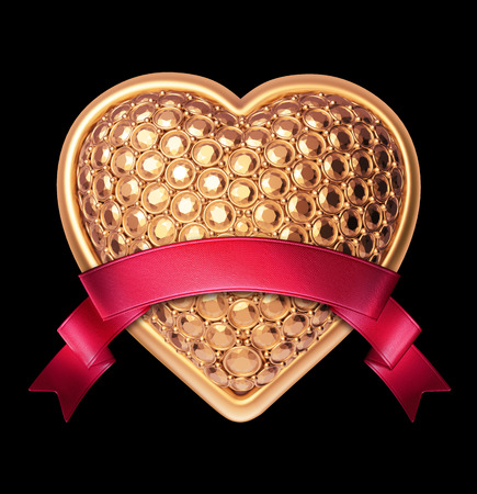 3d shiny gold bedazzled heart with red ribbon tag, Valentines day clip art isolated on black background photo