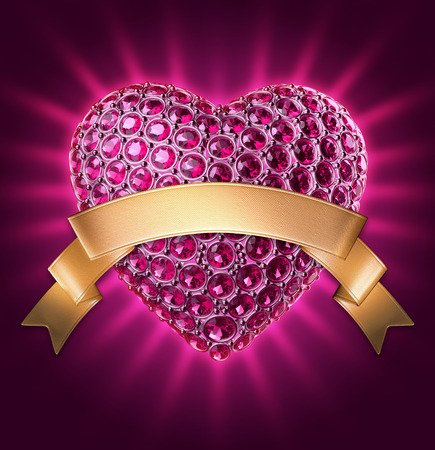 3d purple glowing jewelry heart, gold ribbon tag, Valentines day clip art photo
