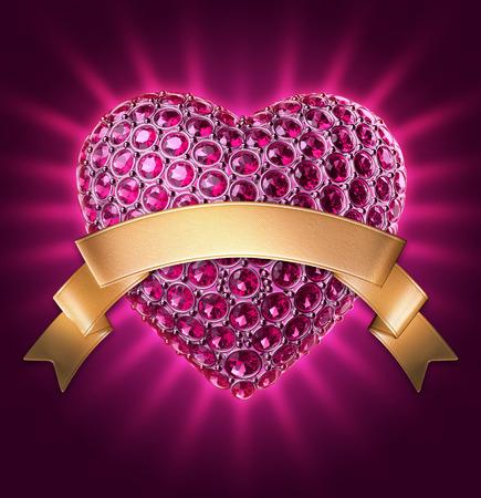 diamond clip art: 3d purple glowing jewelry heart, gold ribbon tag, Valentines day clip art