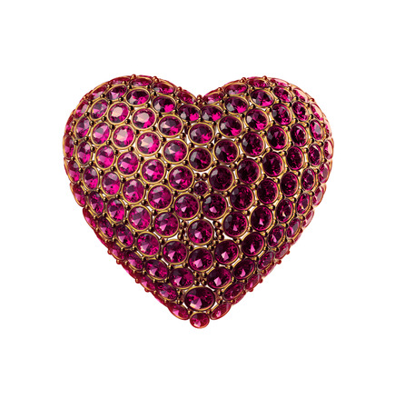 3d crystal heart symbol; Valentines day clip art isolated on white