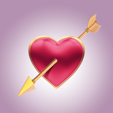 pierced: 3d heart pierced with gold arrow, Valentines day clip art Stock Photo