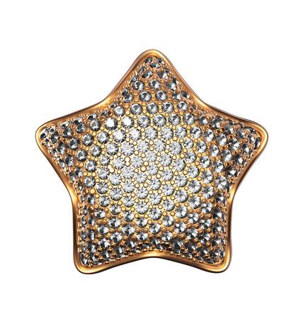 diamond clip art: 3d golden star symbol with diamonds; clip art isolated on white background