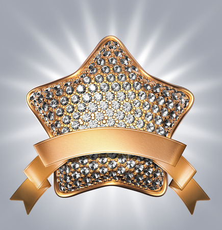 achievement clip art: 3d diamond star symbol with golden ribbon; clip art isolated on silver background Stock Photo