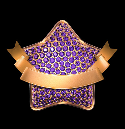 3d golden star with purple crystals, gold ribbon tag, clip art isolated on black background
